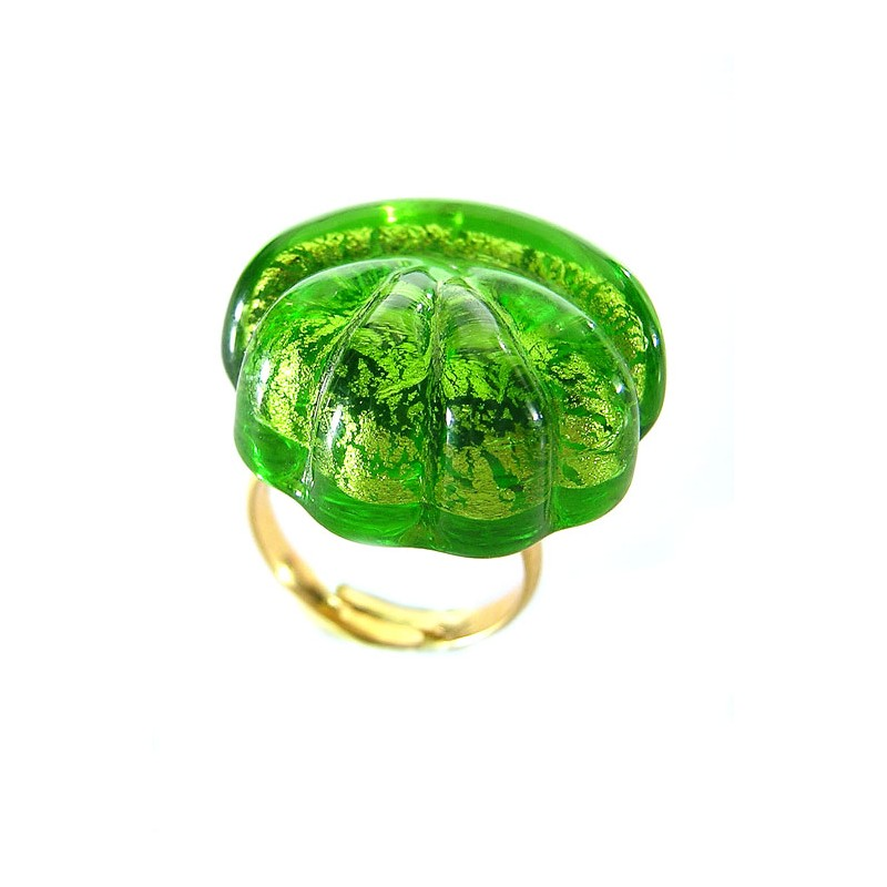 French crystal and gold leaf shell ring