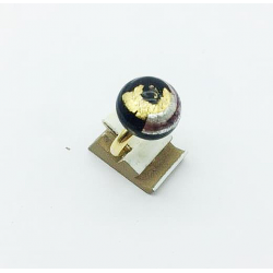 ROUND MURANO GLASS RING 16 MM BLACK GOLD AND SILVER