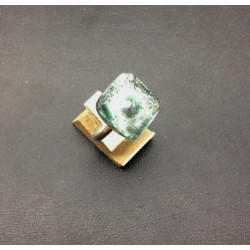 FRANCE CRYSTAL SQUARE RING 15X15 MM SILVER LEAF GRAY