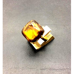 FRENCH CRYSTAL SQUARE RING 15X15 MM TOPAZ SILVER LEAF