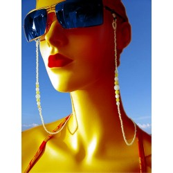 Yellow glasses chain with Bohemian crystal beads and glass beads - Glasses chains - Fashion accessories