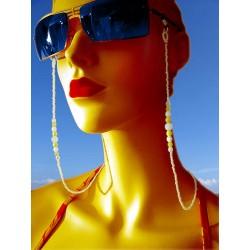 Chaîne de lunettes jaune avec des perles en cristal de Bohème et verre - Chaînes de lunettes - Accessoires de mode