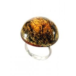 Bague ronde en cristal de France avec feuille d'argent