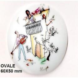 VINTAGE - RARE - PLAQUE PORCELAINE OVALE 60/50 d'APRES LES AMOUREUX