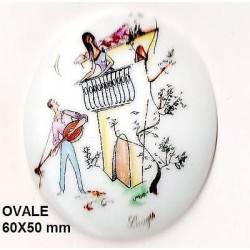 OVAL PORCELAIN PLATE 60x50 BY AFTER LES AMOUREUX romance under the balcony