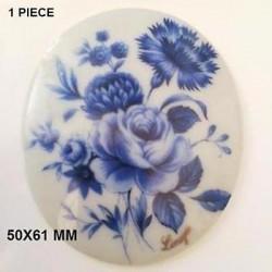 RARE - OVAL PORCELAIN PLATE 60x50 PRETTY BLUE BOUQUET