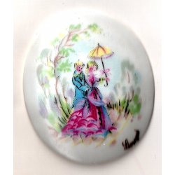 RARE - OVAL PORCELAIN PLATE 60x50 COSTUME XIX UNDER THE SHADOW