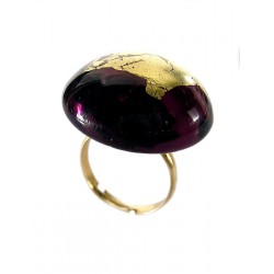 Bague ronde en cristal de france et or
