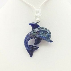 MURANO DOLPHIN NECKLACE IN BLUE CRYSTAL