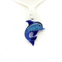 MURANO TURQUOISE CRYSTAL DOLPHIN NECKLACE