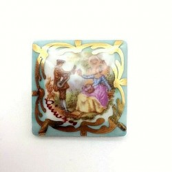 SQUARE PORCELAIN BROOCH FROM LIMOGES SCENE GALANTE FRAGONARD GREEN TURQUOISE