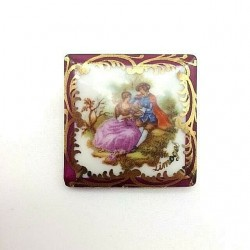 BROCHE CARRE PORCELAINE DE...