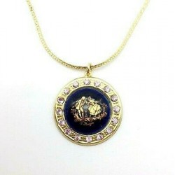ROUND STRASS MEDALLION IN PORCELAIN MARQUIS FRAGONARD BLUE FOUR DECORATION