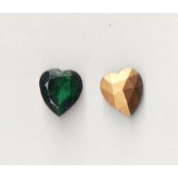 2 STRASS HEART SIZE 10X11 EMERALD