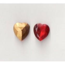 2 STRASS HEART SIZE 10X11 RUBIES