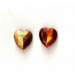 2 STRASS HEART SIZE 10X11 TOPAZE