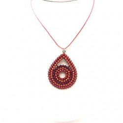 PENDANT PEAR WITH ALL RHINESTONES RED METAL SILVER