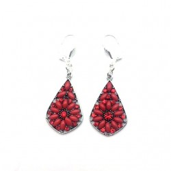 RED STRASS PENDANT EARRING