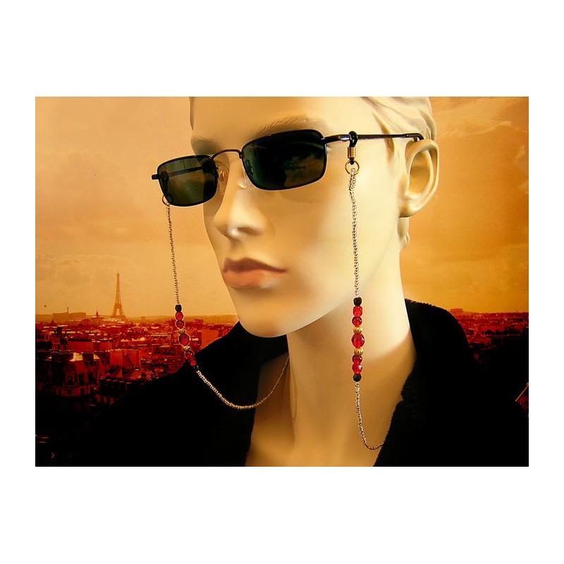 Chaîne de lunettes avec des perles en cristal de Bohème et verre