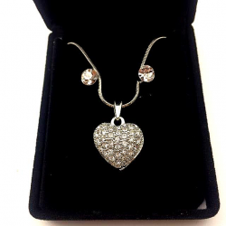 STRASS HEART SET AND EARRINGS