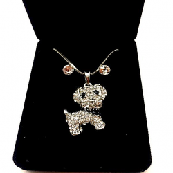 LITTLE DOG SET WITH STRASS AND EARRINGS