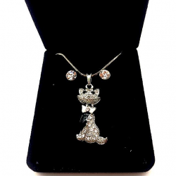 LITTLE CAT SET WITH STRASS AND EARRINGS