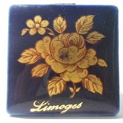 VINTAGE - SQUARE PORCELAIN PLATE 33X33 LIMOGES ROSE GOLD OVEN BLUE