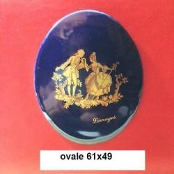 VINTAGE - OVAL PORCELAIN PLATE 61X49 LIMOGES FRAGONARD OVEN BLUE