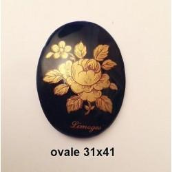 VINTAGE - OVAL PORCELAIN PLATE 41X31 LIMOGES ROSE GOLD 24 K OVEN BLUE