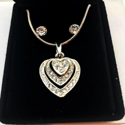 STRASS HEART SET AND EARRINGS GIFT IDEA