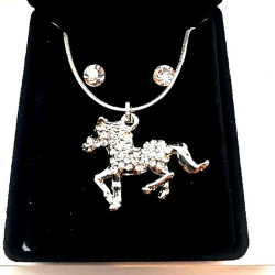 LITTLE HORSE SET WITH STRASS AND EARRINGS GIFT IDEA