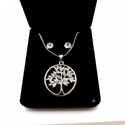 TREE OF LIFE SET WITH RHINESTONES AND EARRINGS GIFT IDEA