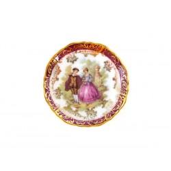 Petite Assiette en Porcelaine de Limoges Pourpre Décor Fragonard