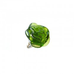 OLIVINE CAMELIA FLOWER RING IN CRYSTAL