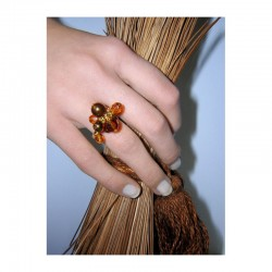 CRYSTAL AND GLASS TOPAZ TASSEL RING