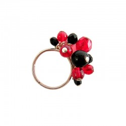 RED & BLACK TASSEL RING IN CRYSTAL AND GLASS