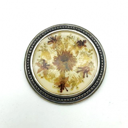 ROUND ART DECO BROOCH NATURAL FLOWER VINTAGE GIFT IDEA