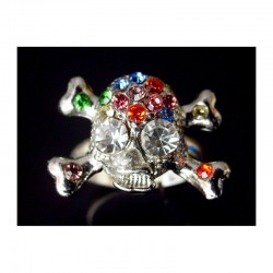 MULTICOLORED SWAROVSKI CRYSTAL SKULL RING