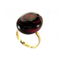 RIANA RED & BLACK CRYSTAL RING