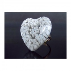 WHITE MURINE HEART RING IN MURANO GLASS