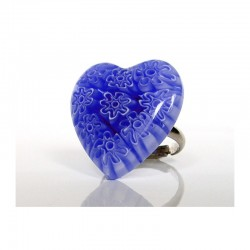 BLUE MURINES HEART RING IN MURANO GLASS