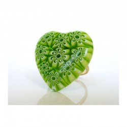 MURINE PISTACHIO HEART RING IN MURANO GLASS