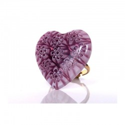 MURINE PURPLE HEART RING IN MURANO GLASS