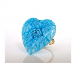 MURINE TURQUOISE HEART RING IN MURANO GLASS