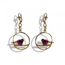 copy of BOUCLES D'OREILLES COLOMBE ROUGE EN CRISTAL