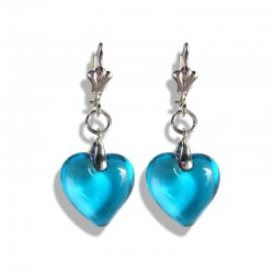 TURQUOISE HEART CRYSTAL EARRINGS