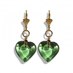 CHARTREUSE CRYSTAL HEART EARRINGS