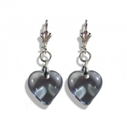 GRAY CRYSTAL HEART EARRINGS