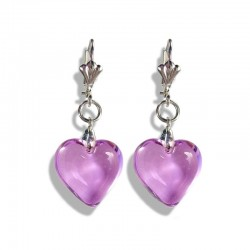 LILAC CRYSTAL HEART EARRINGS