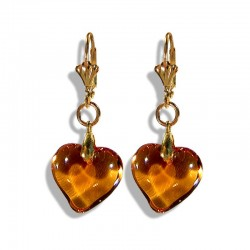 HONEY CRYSTAL HEART EARRINGS